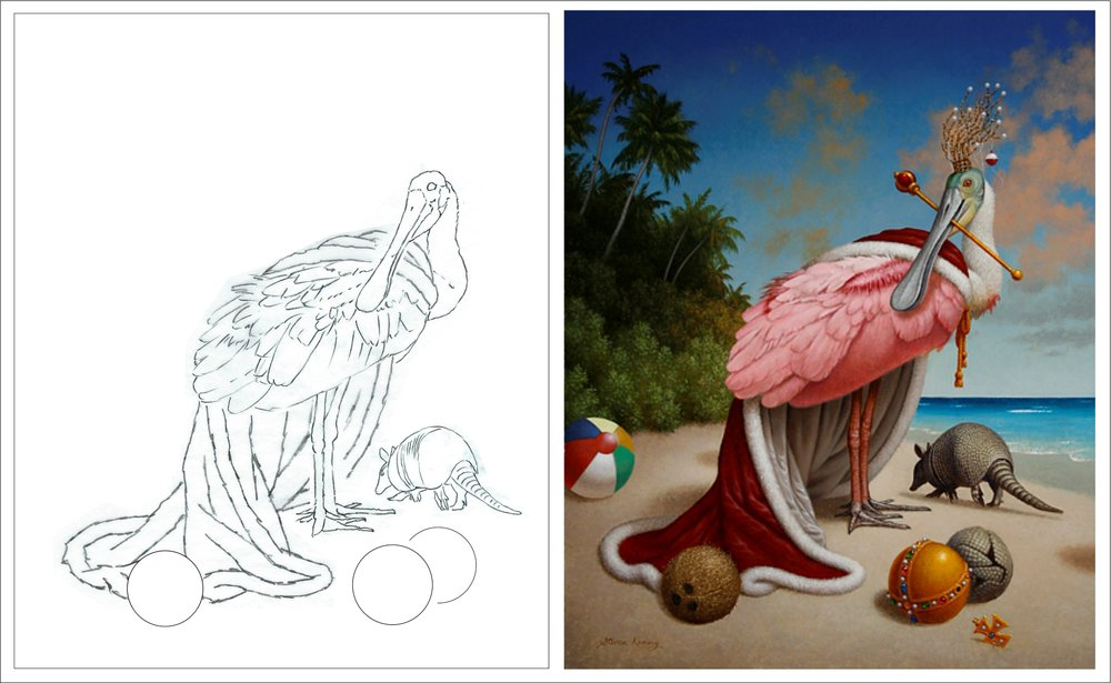 Preliminary sketch (left) and finished painting (right). The Beach, 2015, oil on canvas, 30 x 24 inches. (copyright Steven Kenny)