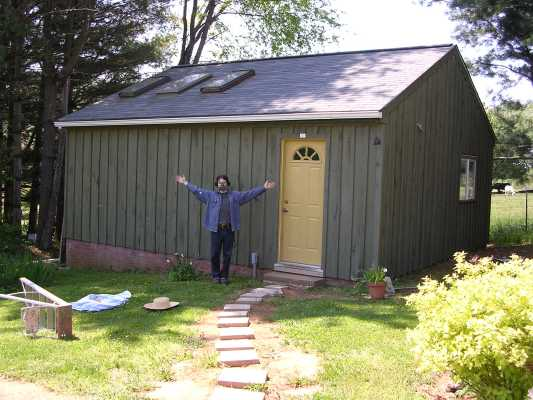 Exterior of my studio in Little Washington, VA. It was originally a garage. I had just finished staining the exterior which explains the respirator.