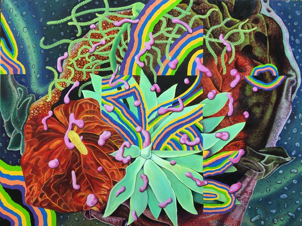 "Titile: Flora Imaginarium     Size: 30 x 40""   Medium: Oil over Acrylic on Panel 2017"