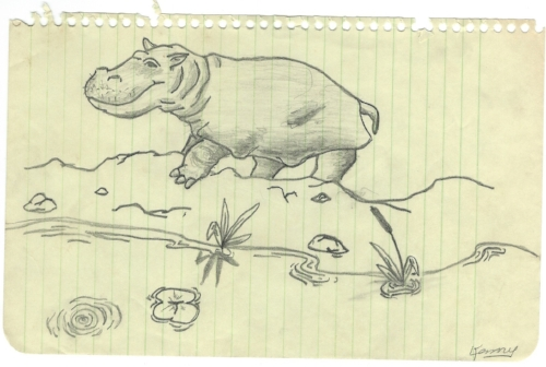 Hippo, pencil on paper, circa 1969, signature added by my mother at a later date