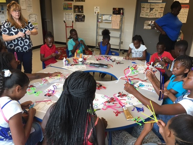 The round table at Child's Park Recreation Center makes teaching a breeze.