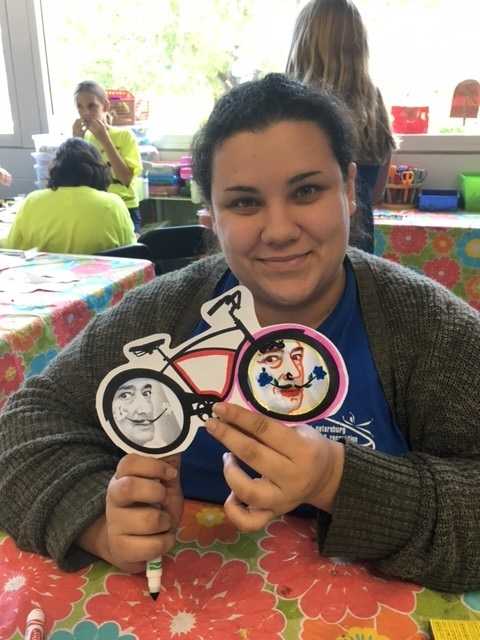 Katmana, our Roberts Rec. classroom assistant turned her Dali Bicycle Frame into a white face mime. The art projects we introduce into the classroom appeal to students, teens and adults alike.