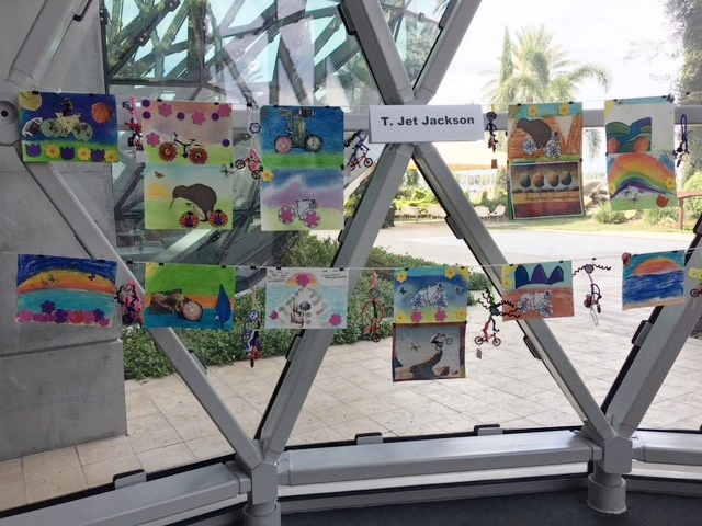 Art projects from each class session were on display.