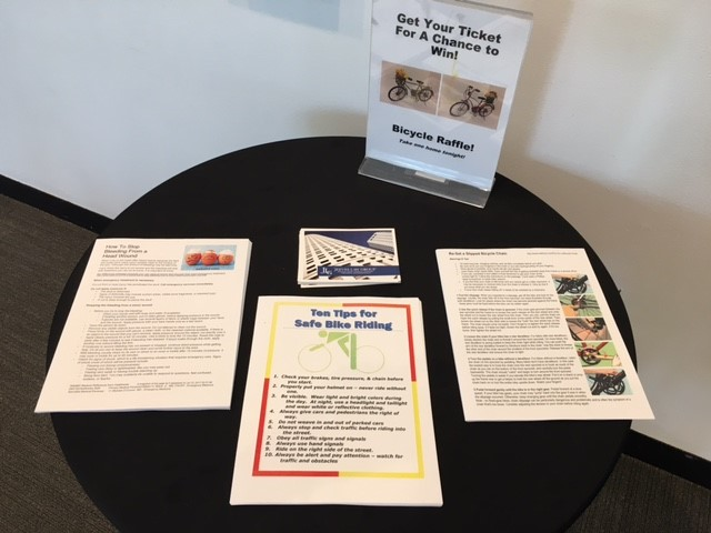 Handouts were available to take home on How to Re-Set a Slipped Bicycle Chain and  Head Wound facts: Why Head wounds bleed so profusely and How to Stop the Bleeding.  A good time was had by all at the closing Reception for Dalí Safety Summer on Tuesday July 18.