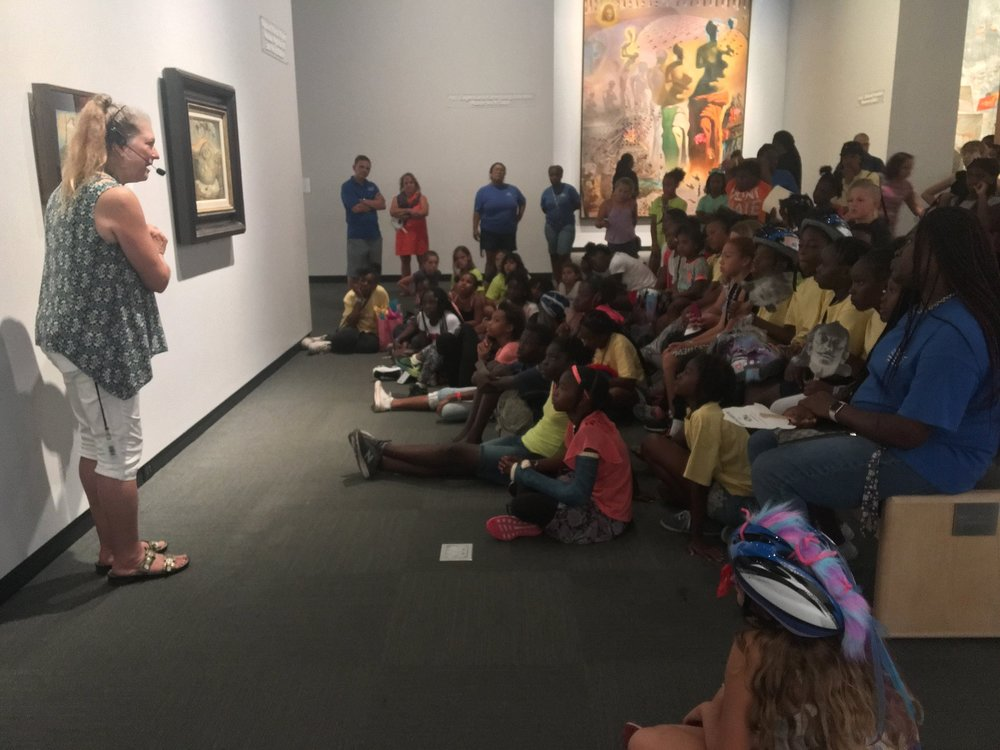 Following all the excitement of the Bicycle Rodeo, everyone had a chance to cool off in the Dalí Museum Galleries as Vickie Brunner, Family Programs Coordinator and Docent connected works by Dalí to our summer content.