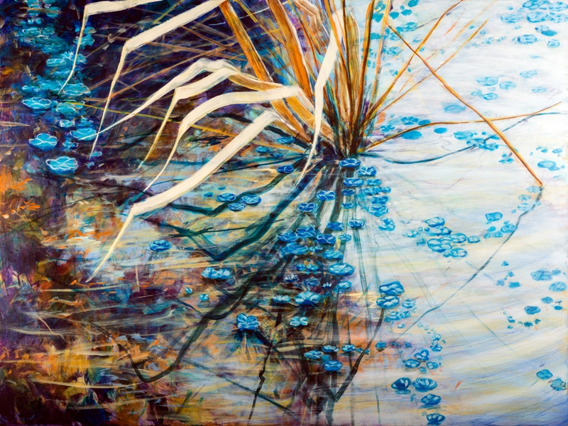 "Pond's Edge 41, acrylic on panel, 36"" x 48"", commissioned for Kevin and Amy Kelso Collection"