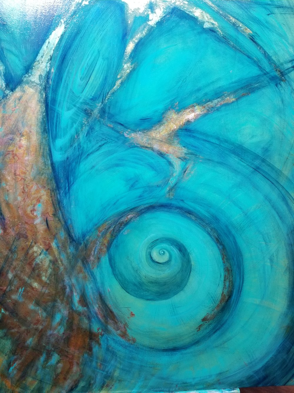 "Detail of Spiral Focus - The Calm in the Chaos 60"" x 36"" Oil and varigated gold leaf -  one of the final two paintings."