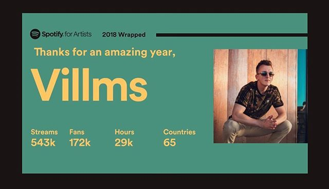 What an amazing year! Thank you guys so much for streaming my songs on Spotify, these stats are FAR beyond what I expected for 2018. Super thankful and I can't wait to put out my next single in 2019! 🙏🏼☺️ #villmsmusic #spotify #2018
