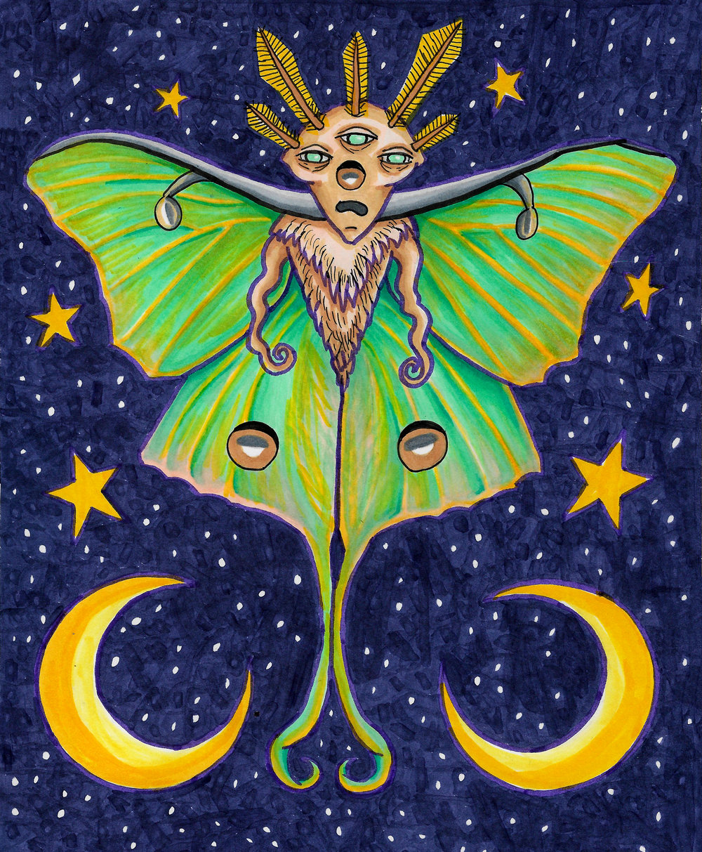 """Luna Moth""   Ink and Copic Marker on 8x10"" Bristol board Exhibited in the Conception Gallery Exhibition in Chicago, IL during June 2017. Original piece has been  sold."