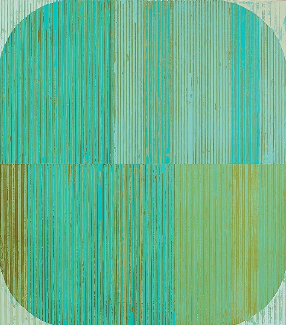Oval with Aqua , acrylic on panel, 29x25""
