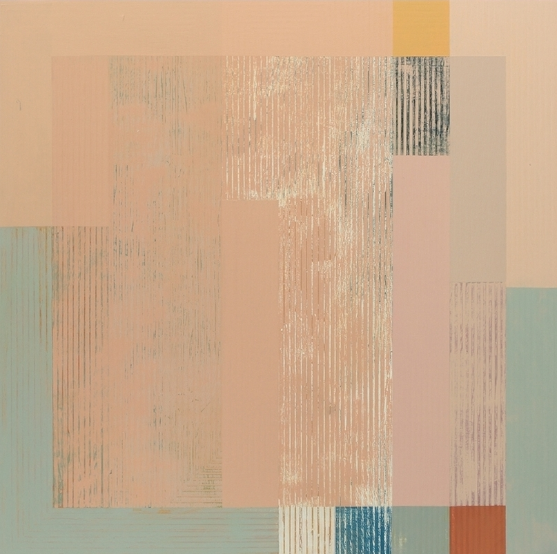Entropic 1 , oil and mixed media on panel, 25x25""
