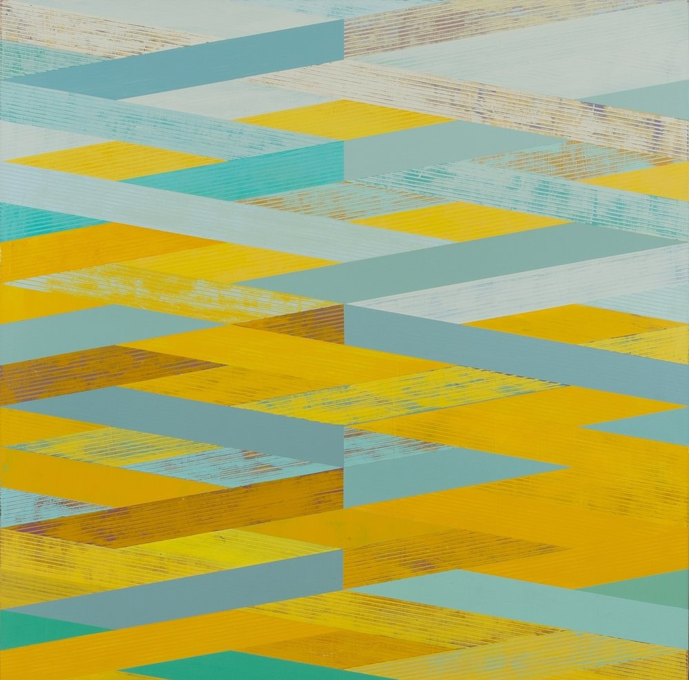 Weave with Yellow and Aqua , acrylic on panel, 44x44""