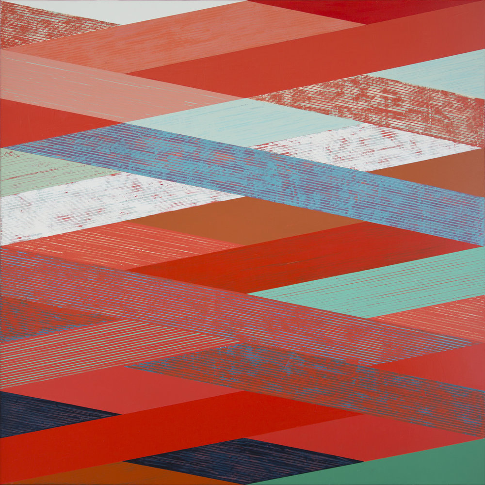 Woven Landscape with Red II , acrylic on panel, 48x48""
