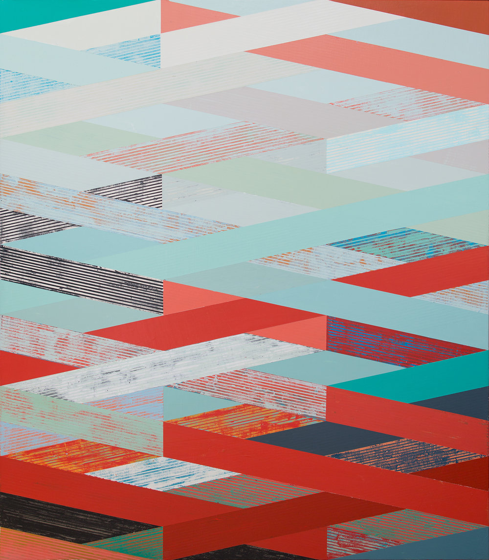 Weave with Red & Aqua,  acrylic on panel, 50x44""