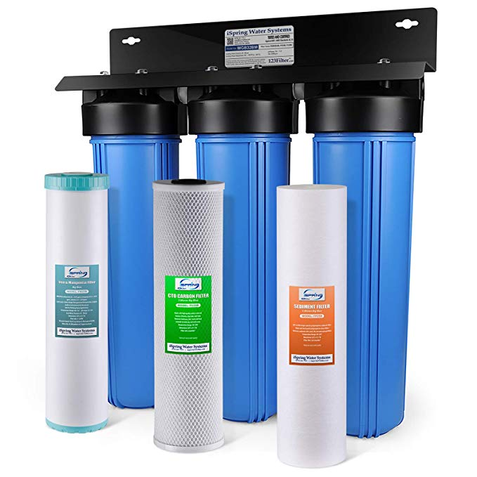 3-Stage Whole House Water Filtration System w/ 20-Inch Big Blue Sediment, Carbon Block, and Iron & Manganese Reducing Filter - Equipped with gradient three stage filtration, iSpring WGB32BM whole house water system removes sediment, chlorine, Iron, Manganese, rust, pesticides, herbicides, industrial solvents, VOCs, and various other contaminants. With 1 inch NPT inlet/ outlet, it has minimum impact on water flow (up to 15 GPM) and requires minimum maintenance.Installed at the main water supply to treat all the water you use in your entire home. Enjoy better water from every tap and every appliance in the whole hou