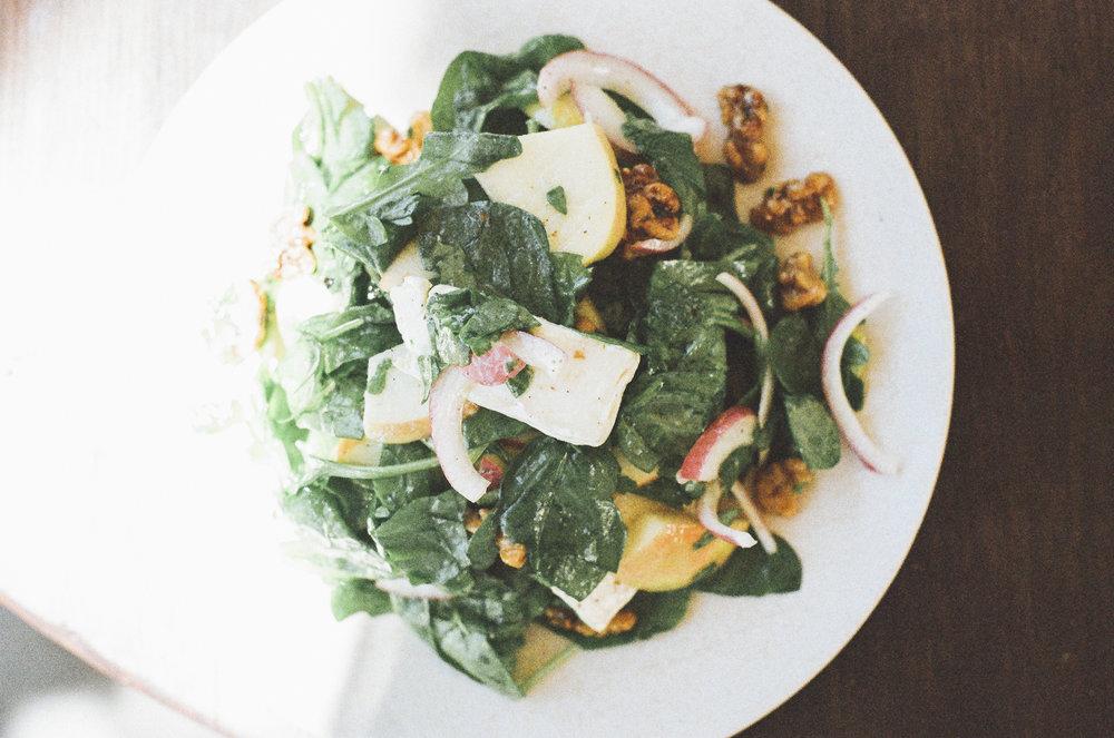Apple Arugula Salad with Tahini Dressing
