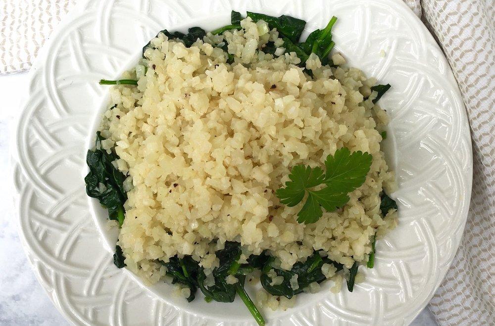 Cauliflower Rice with Garlic Spinach