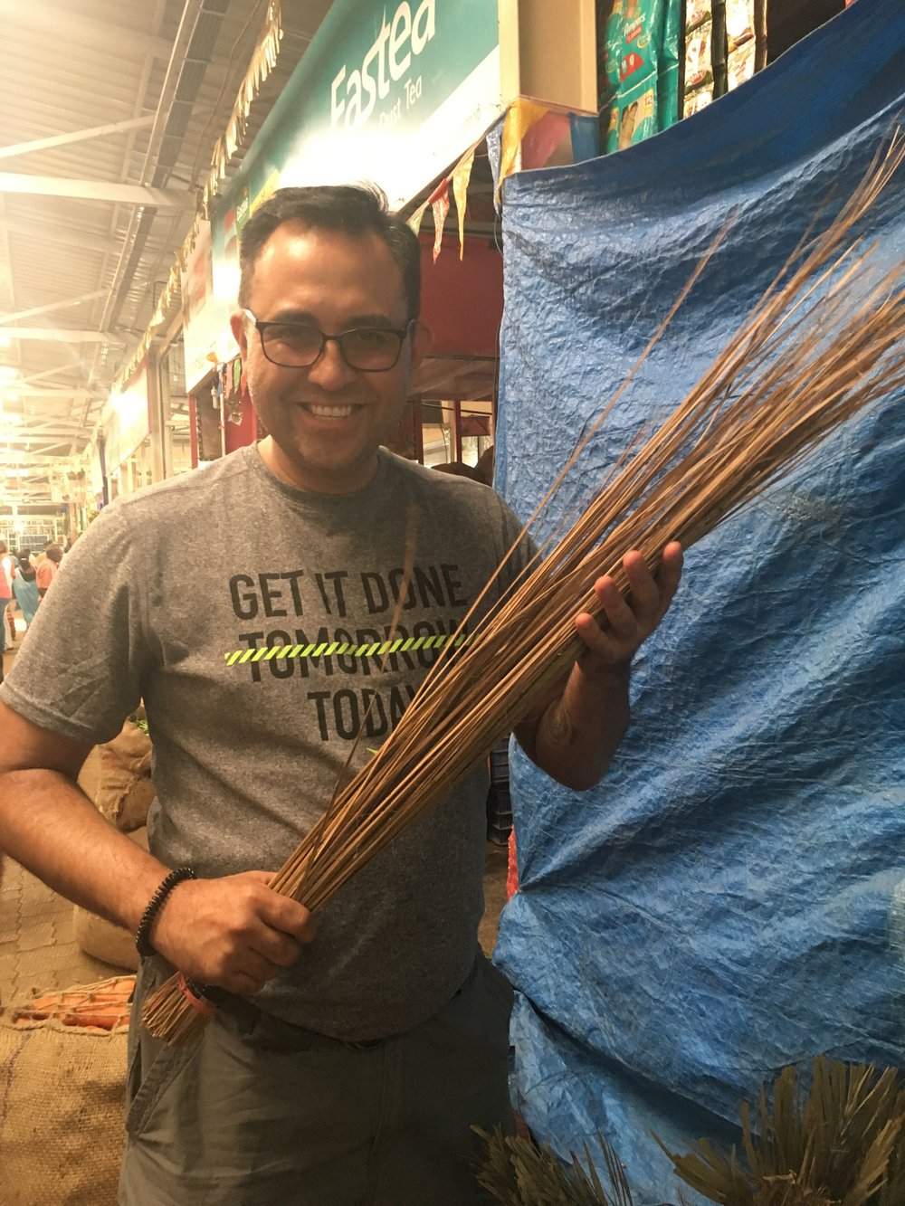 "Broom made of coconut leaf mid-ribs. My Filipino grandmother used to use this ""walis"" to discipline me as a child--  It left hundreds of scratches on the back of your legs! You can bet i only did whatever bad thing i did only once and never again."