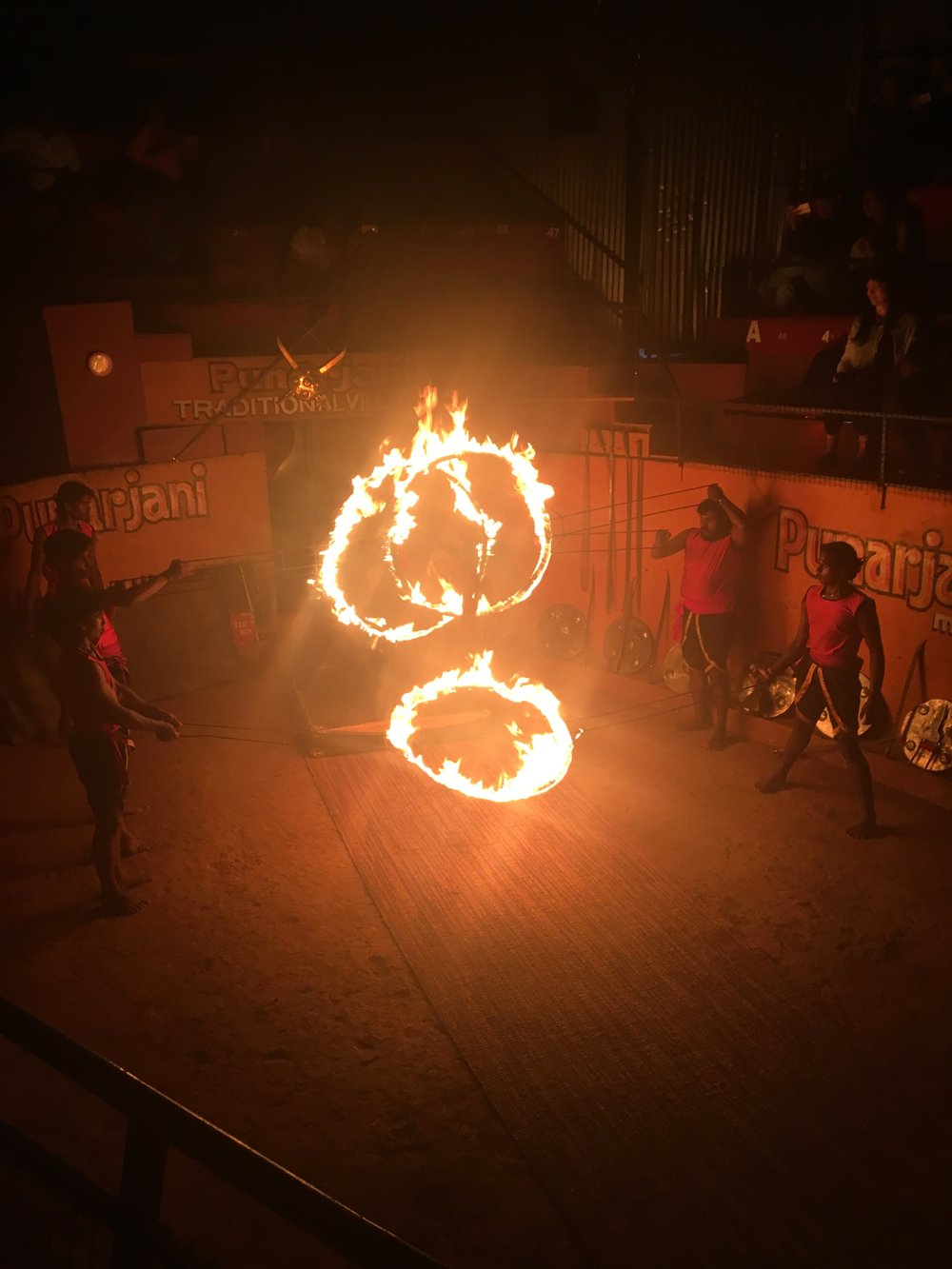 Martial Artists jumping through hoops of fire.