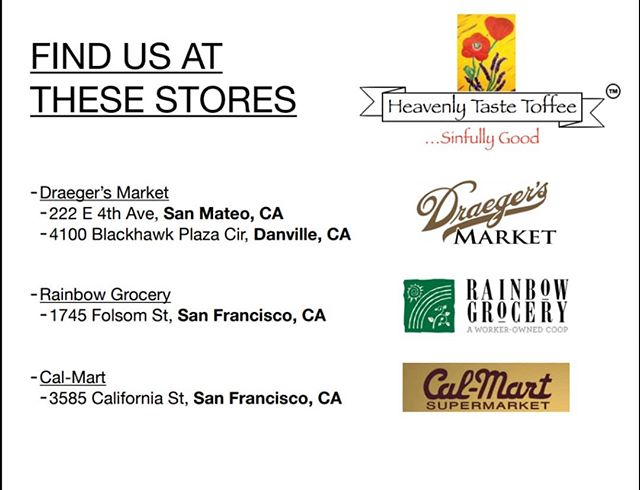 Now you can grab some Heavenly Taste Toffee off the shelf at these select stores!! Make sure to stop by this week and you might even catch me doing a demo 👨🍳🍫 @draegersmarket @rainbow_grocery @calmartsuper #candy #toffee #httoffee #sanfrancisco #sanmateo #berkeley #oakland #oaklandish #sweettooth #chocolate #sugar #danvilleca #sanramonca #perfectgift #midnightsnack #bayareaeats #localfood #handmade #gourmet #wholesale #englishtoffee #corporateevents #corporategifts #holiday
