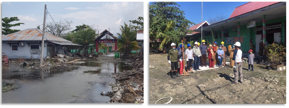 During GER3's first site inspection of this school (photograph on left) in Palu, the site was covered in over 6 inches of water. Thankfully the water quickly drained and the team was able to use an excavator to clear remaining debris. The GER3 team also led safety briefings at local schools and worksites (photograph on right).
