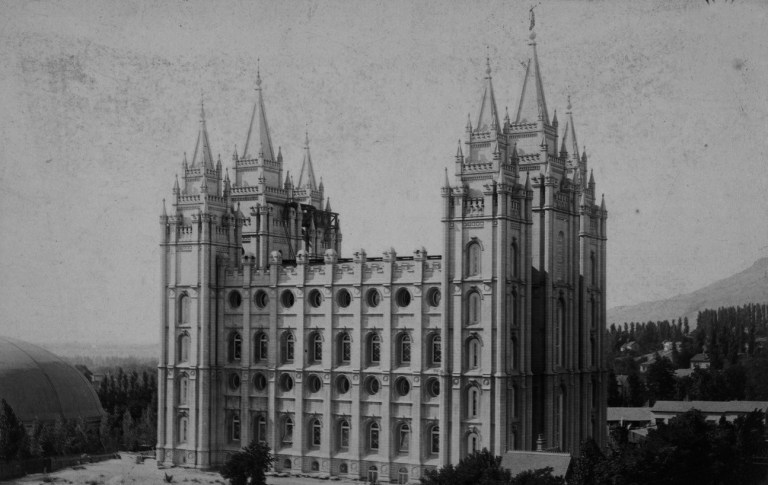 A photograph of the Salt Lake Temple taken in 1893. Source: Archive of the Daughters of the Utah Pioneers