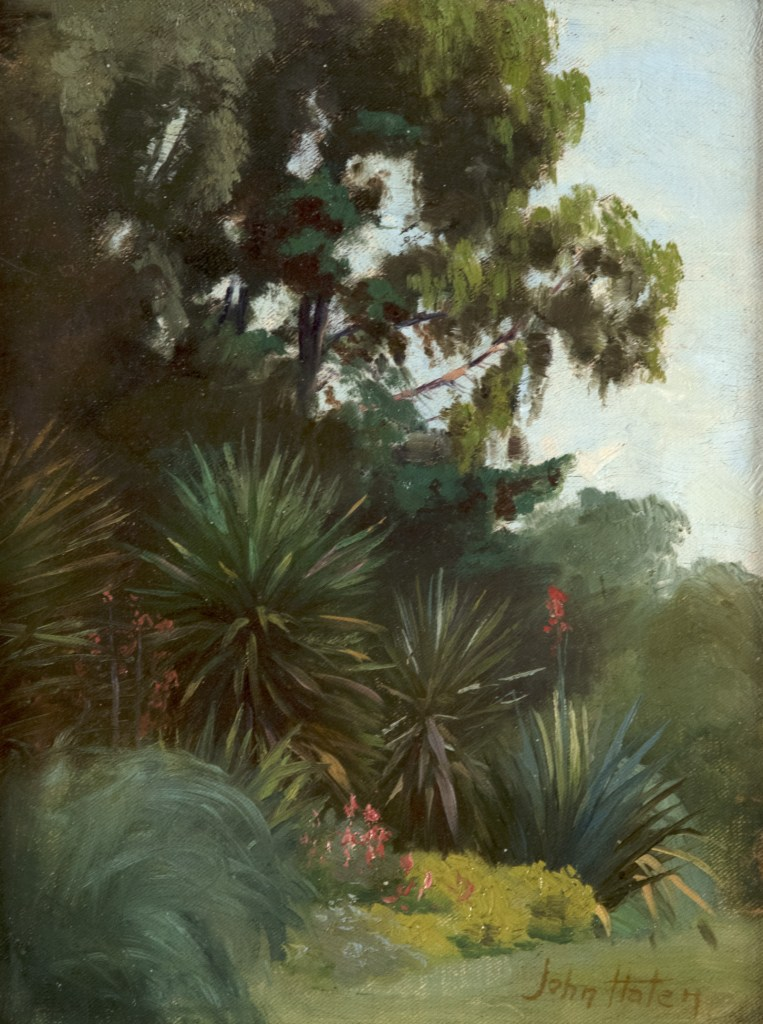 Study for the Salt Lake Temple Garden Room by John Hafen (American 1856 – 1910). Oil on Canvasboard. 12 x 9 in.