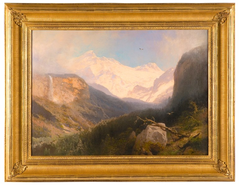 Hetch Hetchy in the High Sierras (c. 1910) by Hermann Herzog (German-American, 1832-1932). Oil on Canvas. 21 x 28 ½ in.