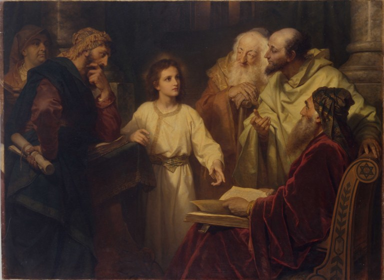 Heinrich Hofmann (German, 1824 – 1911), Der zwölfjährige Jesus im Tempel (1881), Oil on Canvas, Collection of Riverside Church, New York.