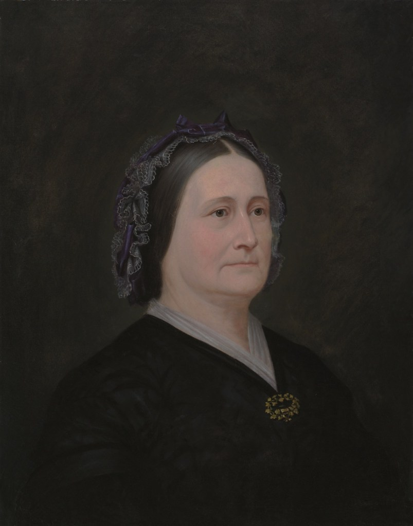 """Enoch Wood Perry, Jr. (American, 1831 – 1915) Mary Ann Angell (1865) Oil on canvas. 27 7/8 x 21 5/8 in., 37 5/8 x 30 5/8 in., Signed """"Brigham Young by Enoch Perry"""" on reverse."""