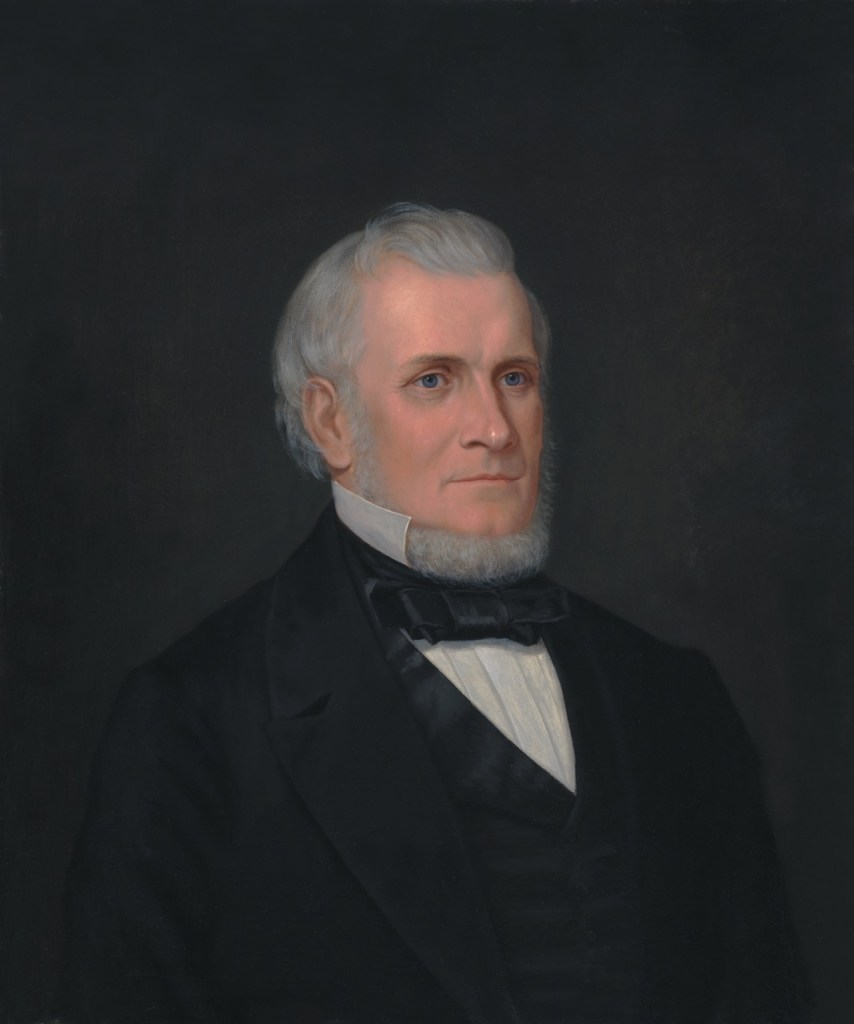 """Enoch Wood Perry, Jr. (American, 1831 – 1915) John Taylor (1865) Oil on canvas. 30 x 24 7/8 in., Signed """"John Taylor by Enoch Perry"""" on reverse."""