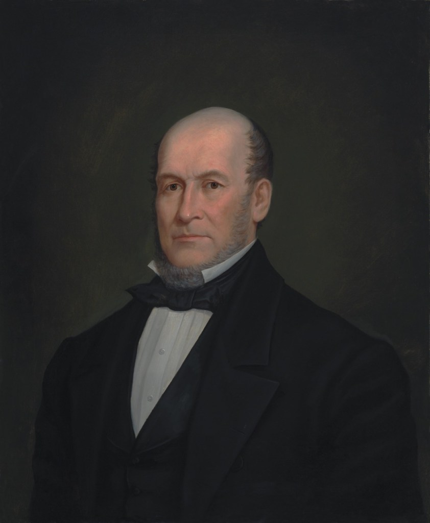 "Enoch Wood Perry, Jr. (American, 1831 – 1915) Heber C. Kimball (1865) Oil on canvas. 30 1/8 x 24 7/8 in., Signed ""Heber C. Kimball by Enoch Perry"" on reverse."