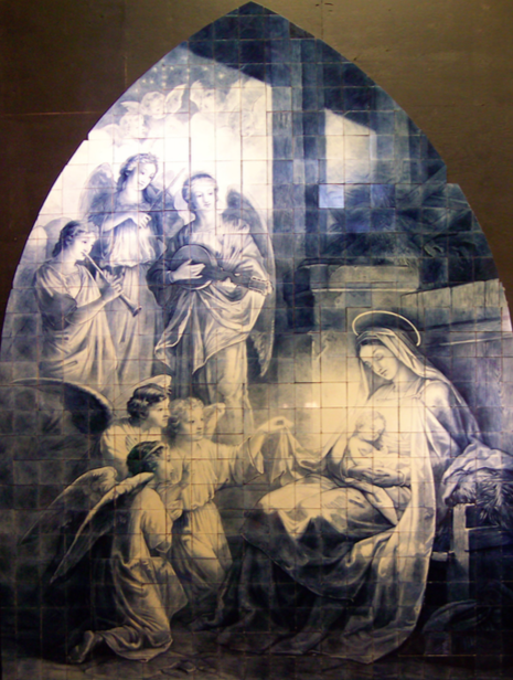 Leonardus Johannes Senf | Dutch, 1860–1940 Adoration of the Madonna and Child | 1897 after Giovanni Battista Tiepolo. Cobalt on 500 tin-glazed, earthenware tiles 172 by 126 1/4 in (436.9 by 320.7 cm.)