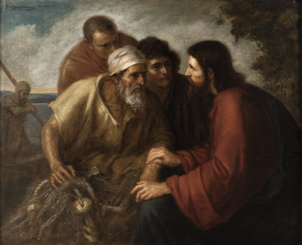 Ernst Zimmermann (German, 1852-1901), Christ with the Fishermen (Christus bee den Fischern), 1888, Oil on canvas. 27½ x 33½ in. Anthony's Fine Art & Antiques, Salt Lake City