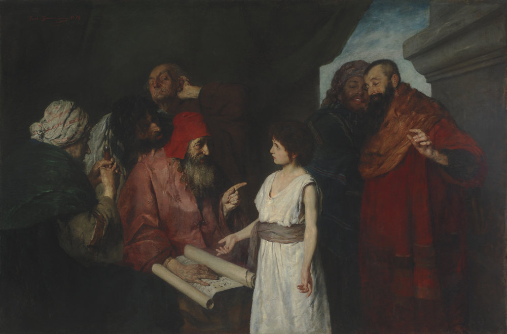 Twelve Year Old Christ in the Temple (1879) by Ernst Zimmermann (Now part of the permanent collection of the Brigham Young Museum of Art)
