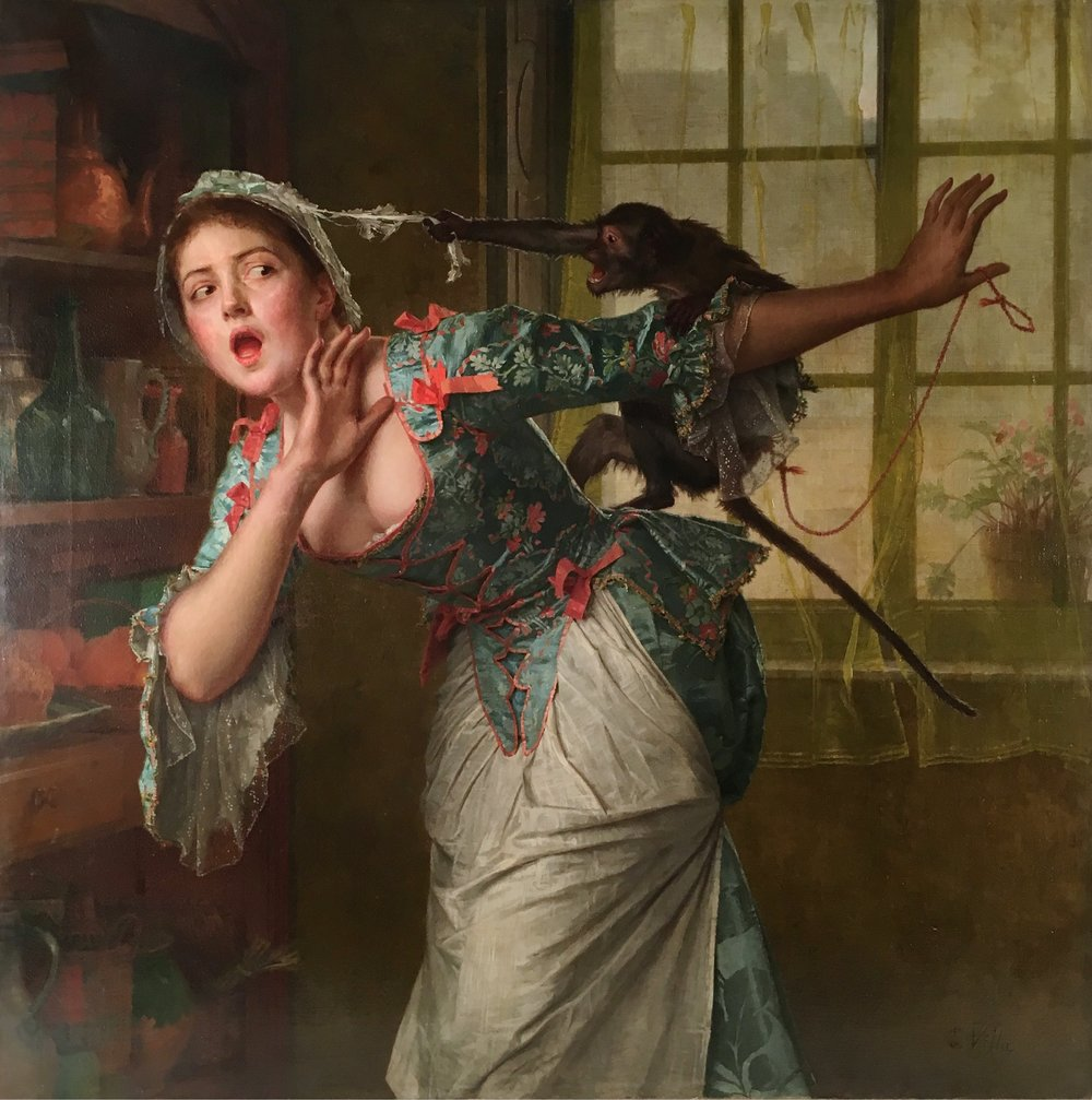 La coiffe en danger (1893) by Émile Villa (French, 1836-1900) Oil on canvas.