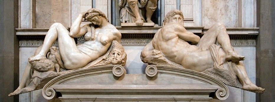 Michelangelo (1475-1564) Night and Day, from the Tomb of Lorenzo de Medici (1526-1530) Marble. Florence, Italy.