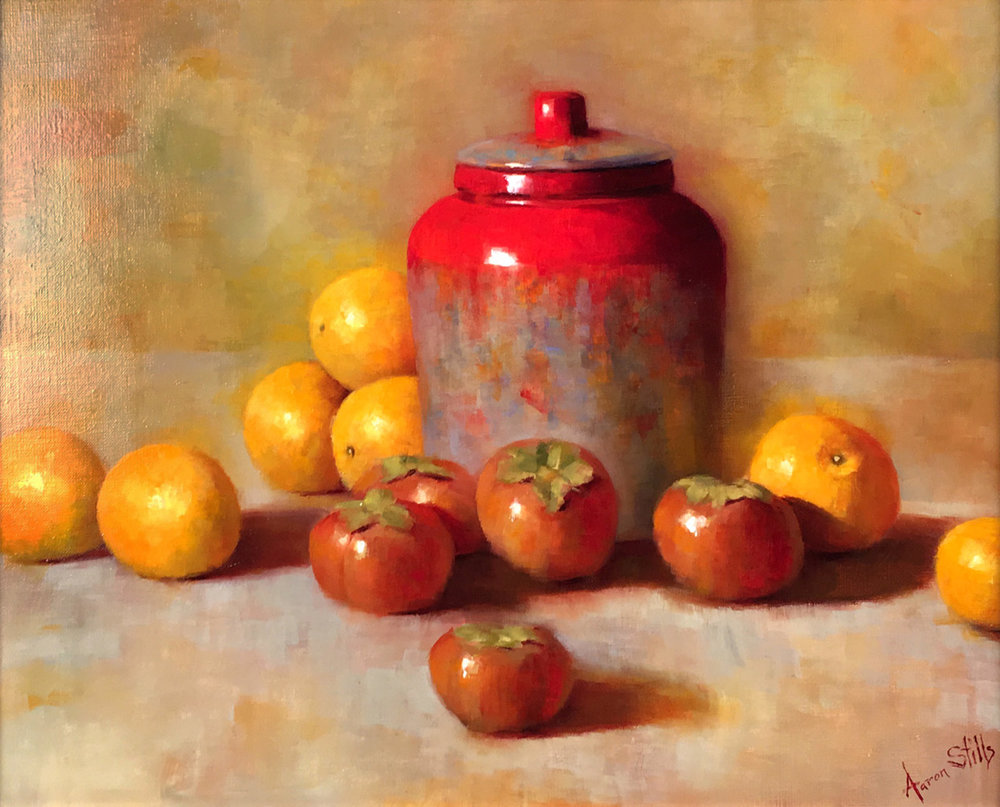 Aaron Stills (American, b. 1953) Ginger Jar, Persimmons, & Oranges  /  Oil on Canvas  /  16 x 20 (in)