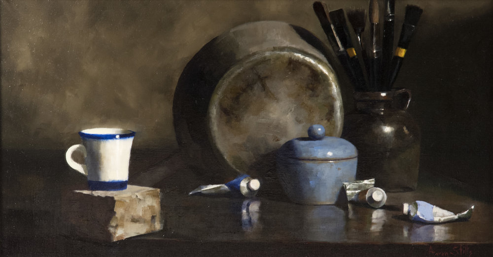 Aaron Stills (American, b. 1953) Studio Accoutrements  /  Oil on Canvas  /  14 x 26 (in)