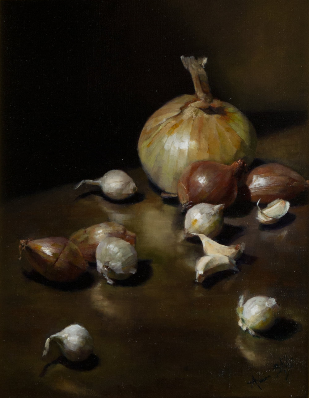 Aaron Stills (American, b. 1953) Garlic, Shallots, & Onions  /  Oil on Canvas  /  14 x 11  (in)