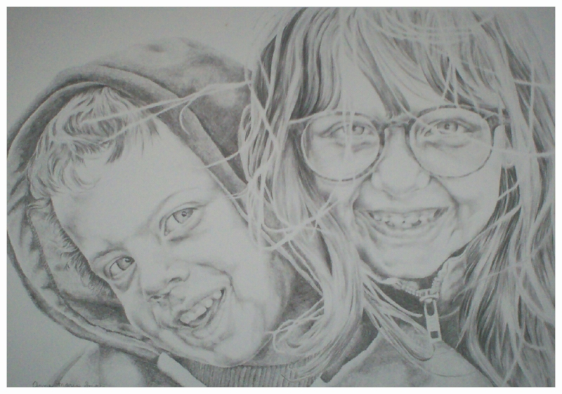 """Katie and Eric"" 1996. Graphite on Hot Press"