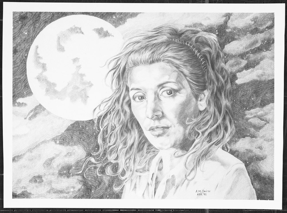 """Troy"" 1995. Graphite on Hot Press Original owned by Marina Sirtis"