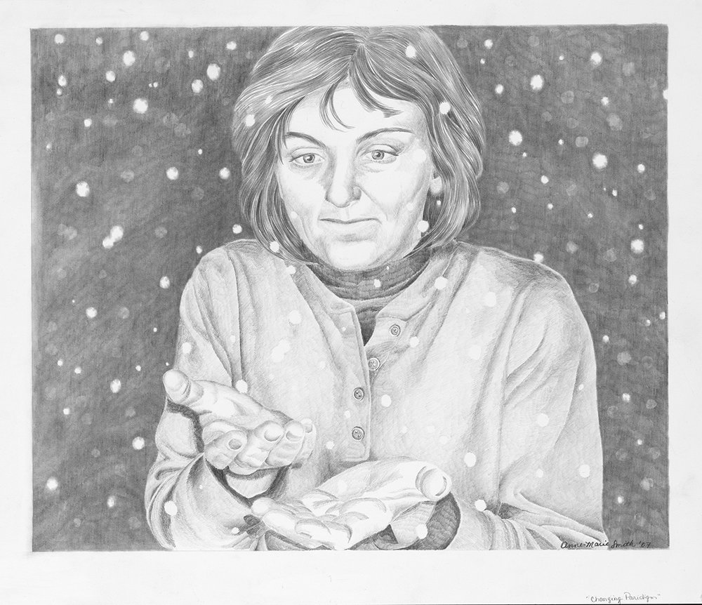 """Snow"" 2011 Original Graphite on Hot Press. Limited Edition Print available. Original $275 Reproduction $45"