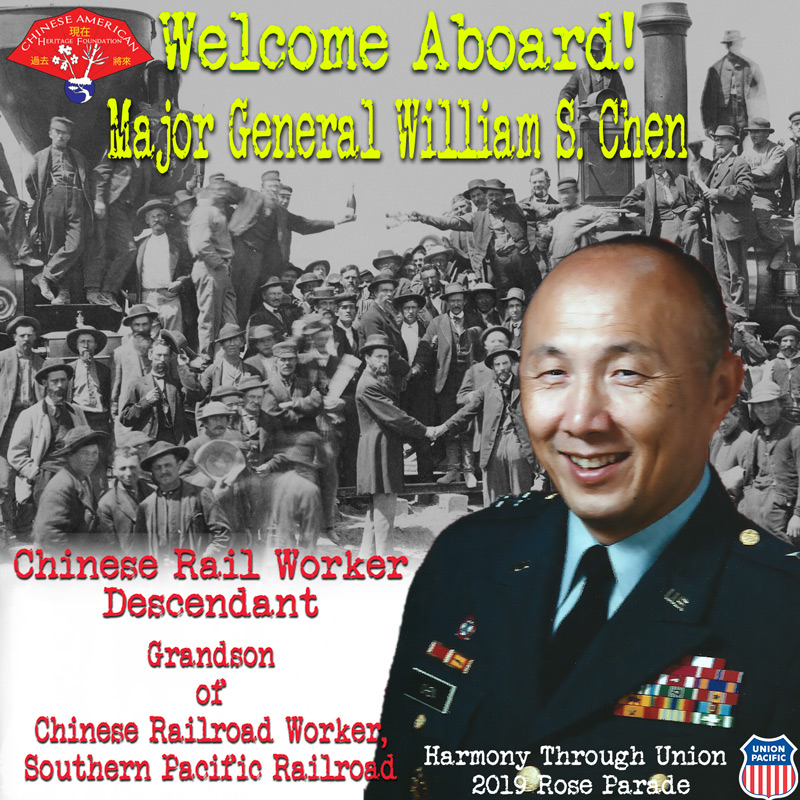Major General William Chen (Ret.) - William S. Chen, better known as Bill Chen, is a third-generation Chinese American who served as a career U.S. Army officer for over 32 years. As a Major General, he commanded the U.S. Army Missile Command during Operation Desert Shield/Desert Storm. Later he served as the Army's first Program Executive Officer for Missile Defense – directing all the Army's theater and national missile defense programs. William had combat tours in Vietnam and Laos, and assignments in Korea and Thailand. He retired as a Major General — the first Chinese American to achieve a 2-star rank in the U.S. Army. His defense industry experience includes work with United Defense, Inc. and BAE Systems, Inc. Bill graduated from University of Michigan with a B.S.E. in engineering mathematics and an M.S.E. in aeronautical & astronautical engineering. He has an MBA from Auburn University and is a graduate of Defense Systems Management College, Air Command & Staff College, and Industrial College of the Armed Forces. He's a twice recipient of the Distinguished Service Medal from the Army.Bill is the grandson of Chan Fong, a Chinese railroad worker for Southern Pacific Railroad, founded during the construction of the Transcontinental Railroad. The line merged with Union Pacific in 1996. His grandfather was also a letter-writer for the Chinese railroad workers, providing them the service of sending written communications back to China.William Chen, what is your Melody of Life?My Melody of Life is 'Blending in While Standing Out.'
