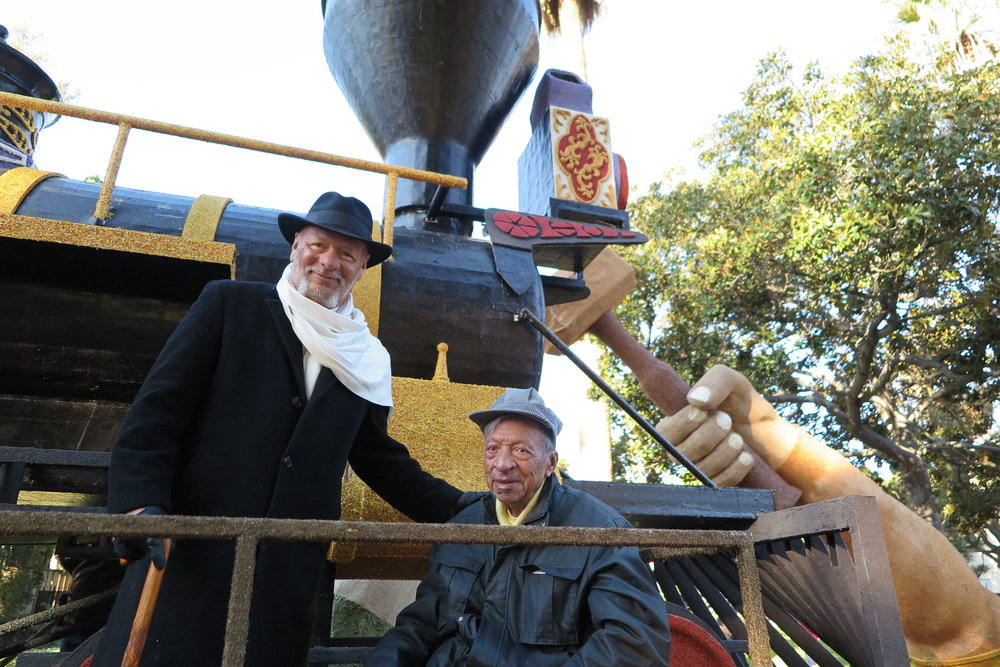 Son and father — the Johnsons — sat at the front of Jupiter, the iconic locomotive from Central Pacific Railroad.