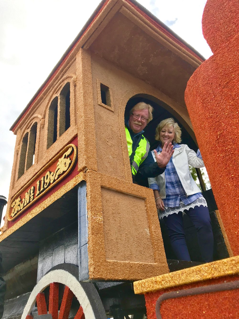 James Guerin, right where he should be — in the locomotive of UP No. 119. James is a real locomotive engineer for Union Pacific Railroad.