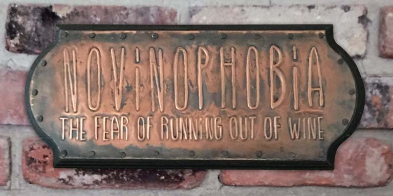 novinophobia, the fear of running out of wine