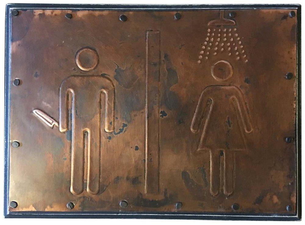 "Psycho Bathroom Sign/ 5 x 7"" / $55"