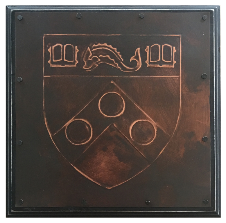 "University of Pennsylvania shield 8 x 8"" copper mounted on wood"