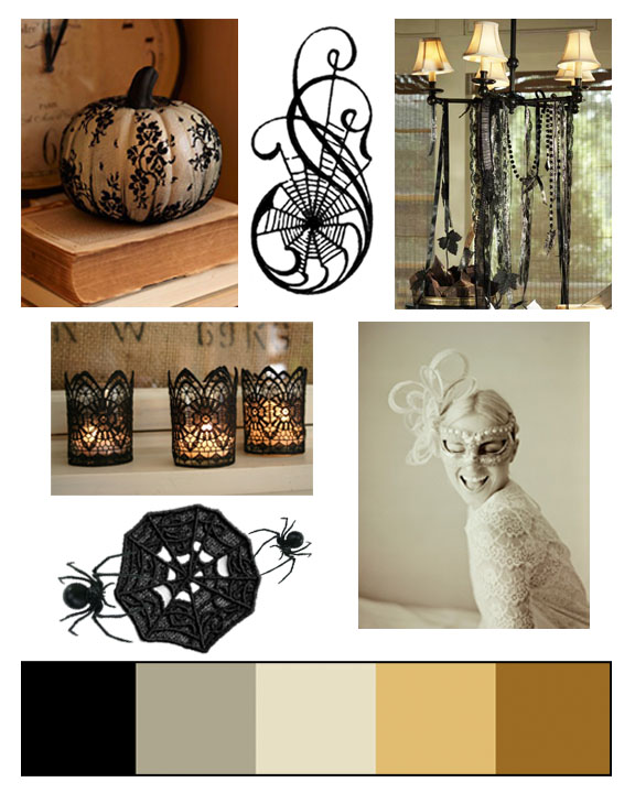 Pumpkin ,  Graphic ,  Chandelier ,  Candles ,  Mask ,  Lace web